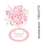 label with beautiful pink tree