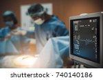 electrocardiogram in hospital...   Shutterstock . vector #740140186