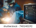 electrocardiogram in hospital... | Shutterstock . vector #740140192