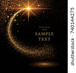 gold glitter curve trail and... | Shutterstock .eps vector #740144275