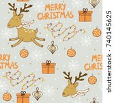 merry christmas and happy new...   Shutterstock .eps vector #740145625