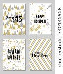 happy new year cards vector... | Shutterstock .eps vector #740145958
