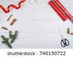 rolls of red christmas wrapping ... | Shutterstock . vector #740150722