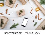 christmas background with... | Shutterstock . vector #740151292