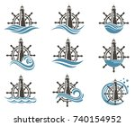 icons collection of yacht helm... | Shutterstock .eps vector #740154952