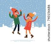 happy winter kids playing... | Shutterstock .eps vector #740156686