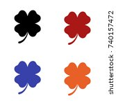 editable four leaf clover icon... | Shutterstock .eps vector #740157472