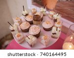 candy bar at a wedding in the... | Shutterstock . vector #740164495