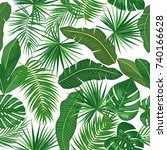 seamless pattern of leaves... | Shutterstock .eps vector #740166628