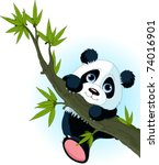 Stock vector very cute giant panda climbing tree 74016901