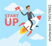 businessman with startup. man... | Shutterstock .eps vector #740170822