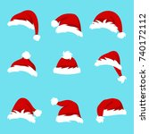 set santa hats isolated on blue ... | Shutterstock . vector #740172112