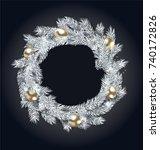 christmas wreath with golden... | Shutterstock . vector #740172826
