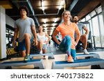 group of young people doing... | Shutterstock . vector #740173822