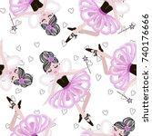 cute dancing ballerina girls in ... | Shutterstock .eps vector #740176666