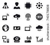 16 vector icon set   share ... | Shutterstock .eps vector #740178808