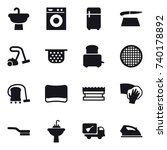 16 vector icon set   washing... | Shutterstock .eps vector #740178892