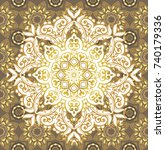 golden luxury mandala with...   Shutterstock .eps vector #740179336