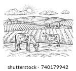rural landscape with cows.... | Shutterstock .eps vector #740179942