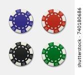 realistic casino chips on white ... | Shutterstock .eps vector #740180686