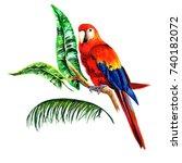 set of birds parrots.... | Shutterstock . vector #740182072
