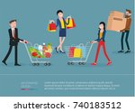young men and women walking... | Shutterstock .eps vector #740183512