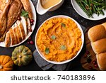 mashed sweet potatoes with...   Shutterstock . vector #740183896