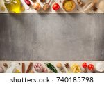spice and herbs ingredients at... | Shutterstock . vector #740185798
