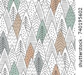 winter forest seamless pattern. ... | Shutterstock .eps vector #740195602