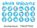 collection of funny santa... | Shutterstock .eps vector #740197342