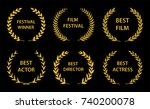 film awards. gold award wreaths ... | Shutterstock .eps vector #740200078