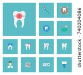 flat icons enamel  tooth seal ... | Shutterstock .eps vector #740204086