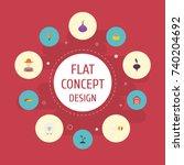 flat icons radish  lamb  grain... | Shutterstock .eps vector #740204692