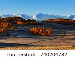 autumn in the mountains.... | Shutterstock . vector #740204782
