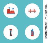 flat icons seattle  bridge ... | Shutterstock .eps vector #740205406