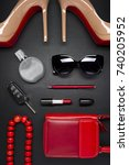 woman accessories  shoes  bag ...   Shutterstock . vector #740205952
