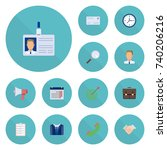 flat icons clock  id card ... | Shutterstock .eps vector #740206216