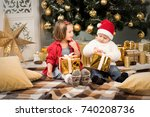 sister and brother give xmas... | Shutterstock . vector #740208736