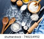 baking ingredients. bowl  eggs  ... | Shutterstock . vector #740214952