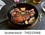 Fried Pork Steak In Frying Pan  ...