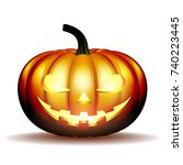 scary jack o lantern halloween... | Shutterstock .eps vector #740223445