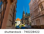 view to the red roofs of brno... | Shutterstock . vector #740228422