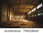abandoned industrial creepy... | Shutterstock . vector #740228665