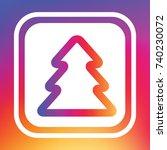 christmas outline tree icon.... | Shutterstock .eps vector #740230072