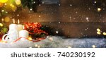 candels with christmas... | Shutterstock . vector #740230192