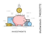 investments  money savings ... | Shutterstock .eps vector #740232772