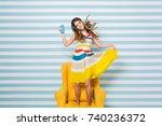 expressing brightful positive... | Shutterstock . vector #740236372