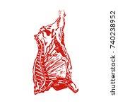 cow carcass engraving vector... | Shutterstock .eps vector #740238952
