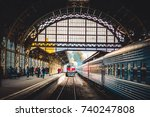 railway station train | Shutterstock . vector #740247808