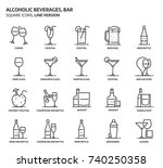 alcoholic beverages  square... | Shutterstock .eps vector #740250358
